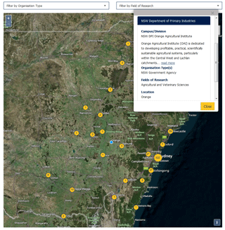 An image of the NSW science and research map