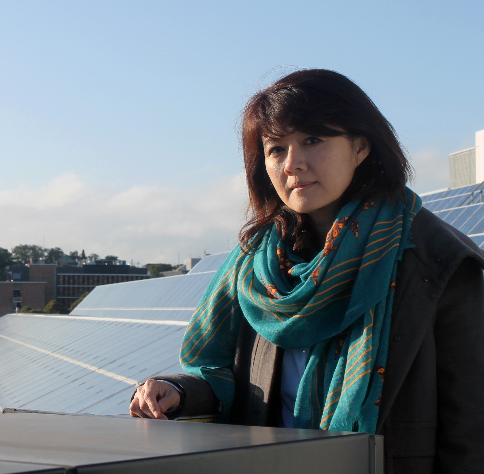 Professor Rose Amal in front of solar panels at UNSW Sydney