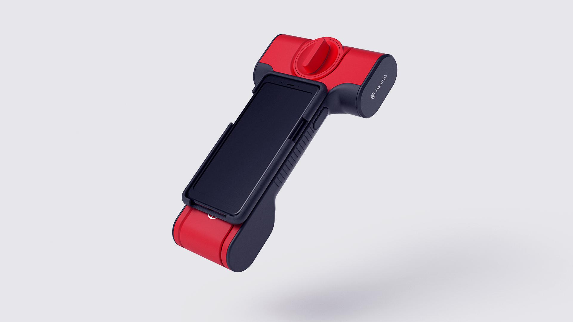 HoneLab analyser attached to smartphone