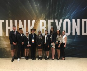 Students attending the International Science and Engineering Fair in Phoenix, Arizona, funded by the Supporting Young Scientists Program.