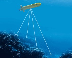 An Autonomous Underwater Vehicle searching for undersea mines